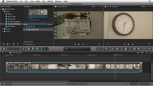 Understanding the purpose of a montage: Narrative Scene Editing with Final Cut Pro X v10.0.9