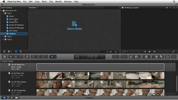 Selecting and organizing clips: Narrative Scene Editing with Final Cut Pro X v10.0.9