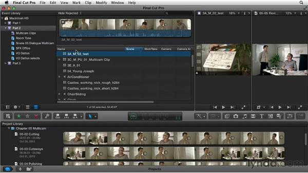 Creating a multicam clip: Narrative Scene Editing with Final Cut Pro X v10.0.9