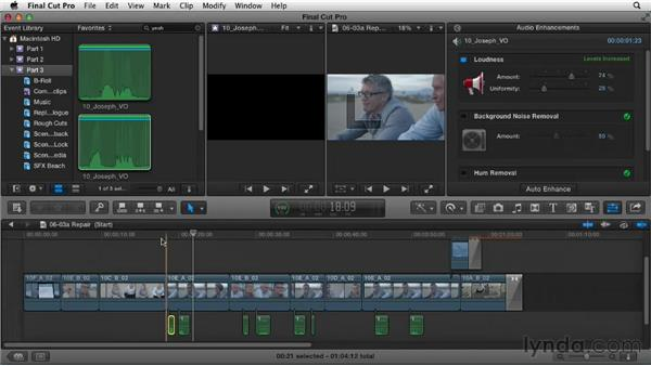 Replacing and repairing the dialogue track: Narrative Scene Editing with Final Cut Pro X v10.0.9