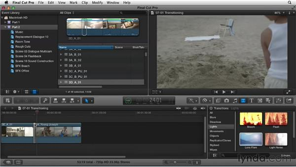 Transitioning between scenes: Narrative Scene Editing with Final Cut Pro X v10.0.9