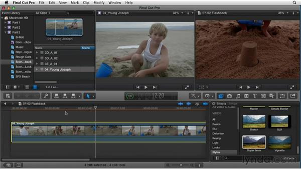 Using effects to create a flashback: Narrative Scene Editing with Final Cut Pro X v10.0.9