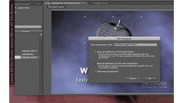 Precomposing with Leave All attributes: After Effects Apprentice 08: Nesting and Precomposing