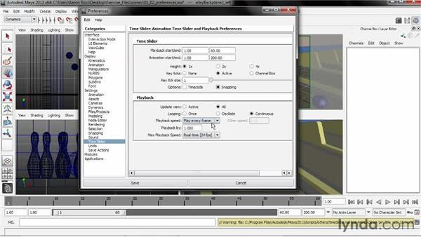 Setting animation preferences: Creating Simulations in Maya Dynamics