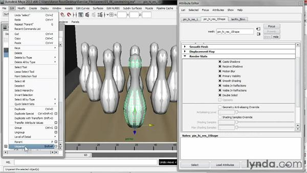 Constraining renderable objects to proxies: Creating Simulations in Maya Dynamics