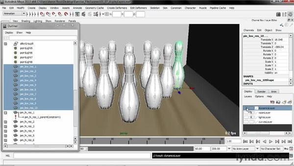 Organizing display layers: Creating Simulations in Maya Dynamics