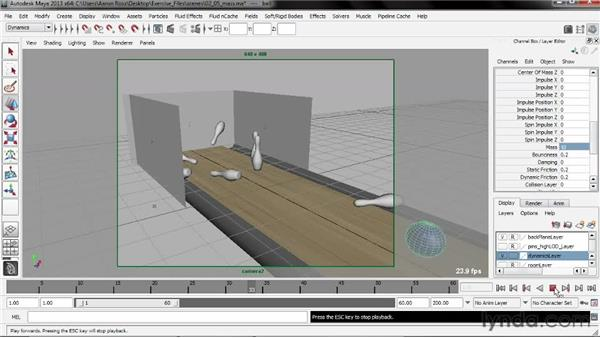 Adjusting mass: Creating Simulations in Maya Dynamics