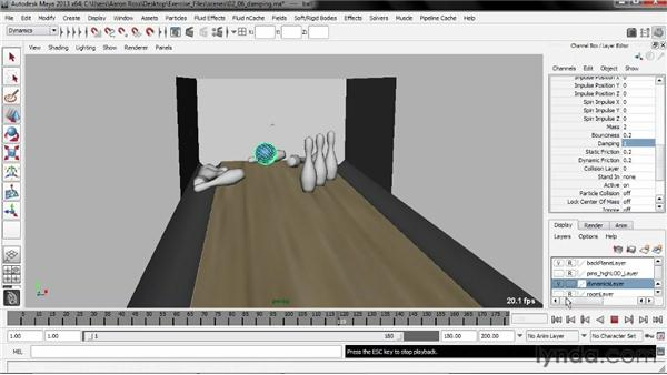 Applying damping: Creating Simulations in Maya Dynamics