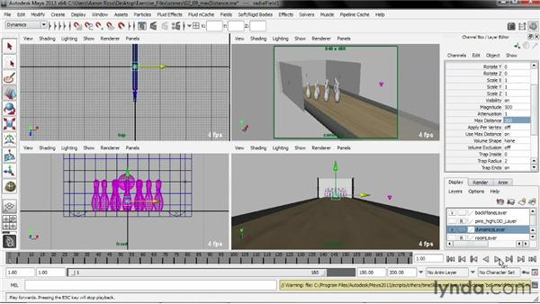 Limiting a field with Max Distance: Creating Simulations in Maya Dynamics