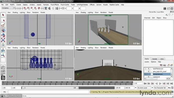 Baking the simulation to keyframes: Creating Simulations in Maya Dynamics