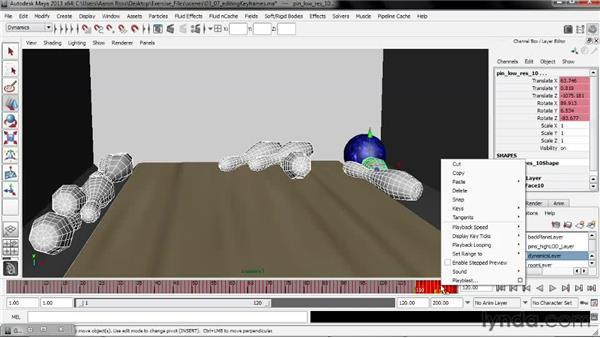 Editing keyframes in the Graph Editor: Creating Simulations in Maya Dynamics