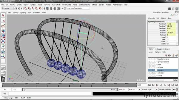 Creating a Hinge constraint: Creating Simulations in Maya Dynamics