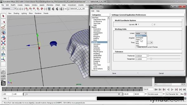 Adopting a scale convention: Understanding Maya nCloth