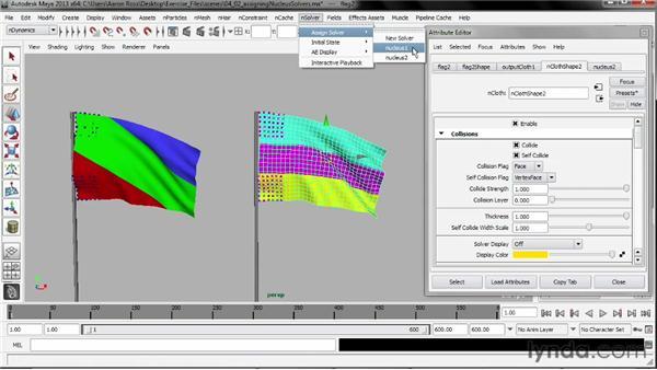 Assigning Nucleus solvers: Understanding Maya nCloth