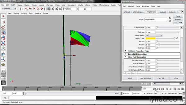 Applying wind shadow: Understanding Maya nCloth