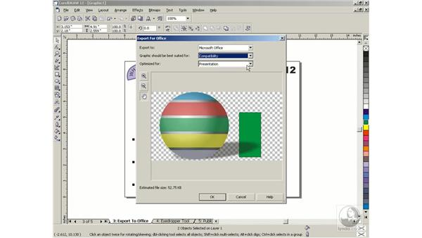 exporting for Microsoft Office: Getting Started with CorelDRAW Graphics Suite 12