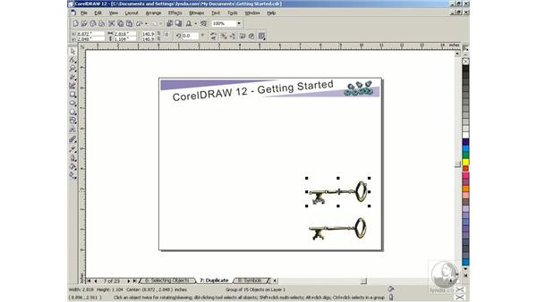 duplicating objects: Getting Started with CorelDRAW Graphics Suite 12