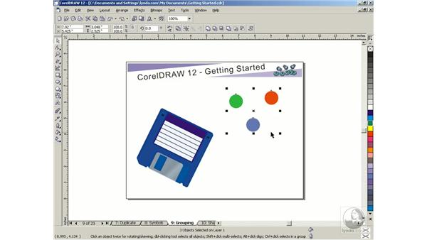 grouping objects: Getting Started with CorelDRAW Graphics Suite 12