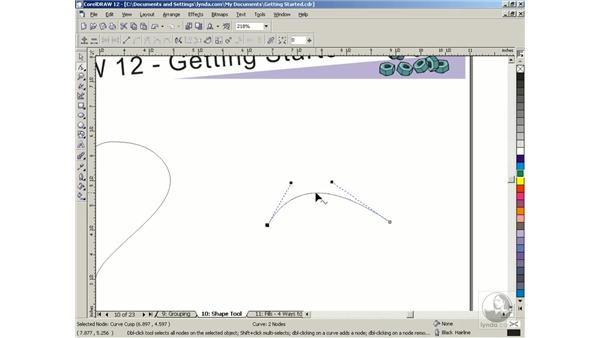 editing nodes and paths: Getting Started with CorelDRAW Graphics Suite 12