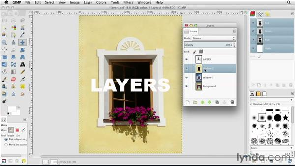 Exploring the Layers palette: GIMP Essential Training