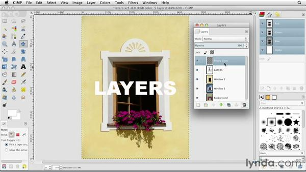 Creating and deleting layers: GIMP Essential Training