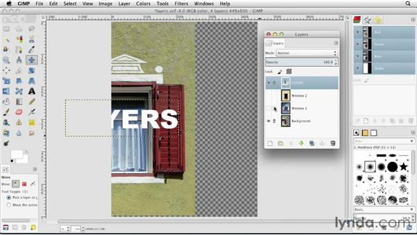 Linking layers together: GIMP Essential Training