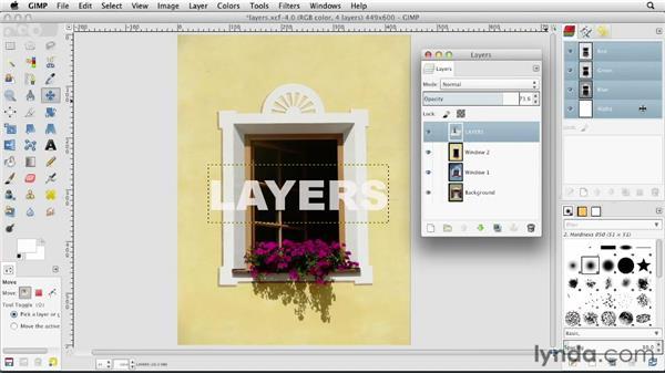 Adjusting layer transparency: GIMP Essential Training