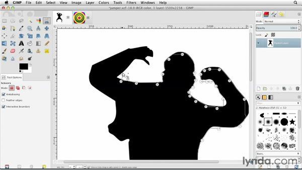 Using Intelligent Scissors: GIMP Essential Training