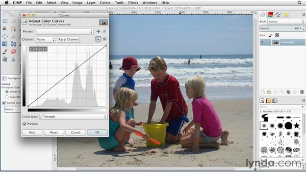 Adjusting images with Curves: GIMP Essential Training