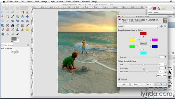 Adjusting Hue, Saturation, and Brightness: GIMP Essential Training