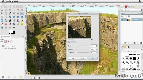 Sharpening images: GIMP Essential Training