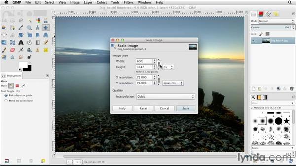Adjusting image size: GIMP Essential Training