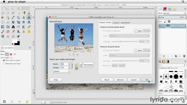 Using Liquid Rescale: GIMP Essential Training