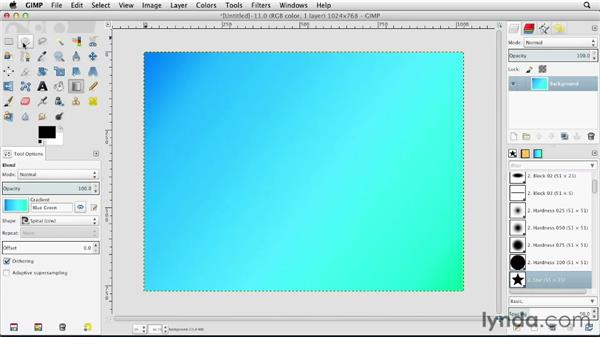 Working with gradient fills: GIMP Essential Training