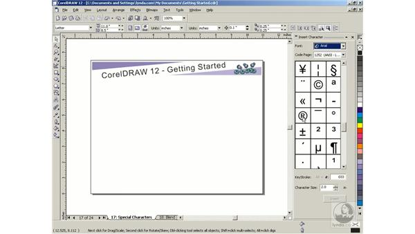 special characters: Getting Started with CorelDRAW Graphics Suite 12