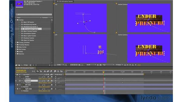 Auto-orienting a layer along its path: After Effects Apprentice 11: 3D Space