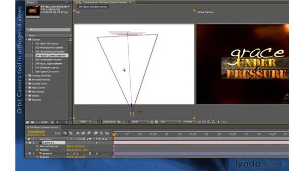 Using the camera tools in the alternate views: After Effects Apprentice 11: 3D Space