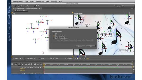 Auto-orientation with 3D cameras: After Effects Apprentice 11: 3D Space