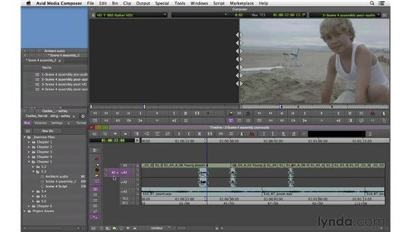 Laying in off-camera audio: Narrative Scene Editing with Avid Media Composer