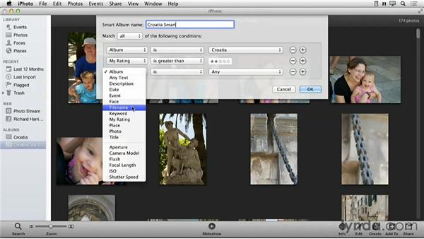Organizing images with a Smart Album: Creating Photo Books with iPhoto