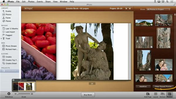 Clearing placed photos: Creating Photo Books with iPhoto