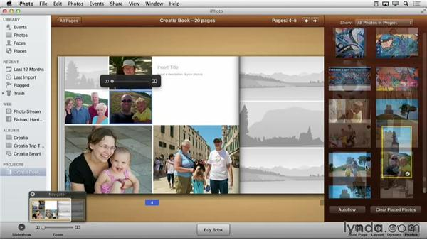 Changing the color of a page: Creating Photo Books with iPhoto
