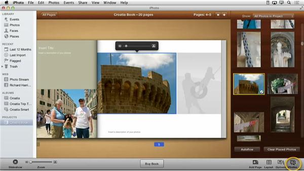 Adding a background photo: Creating Photo Books with iPhoto