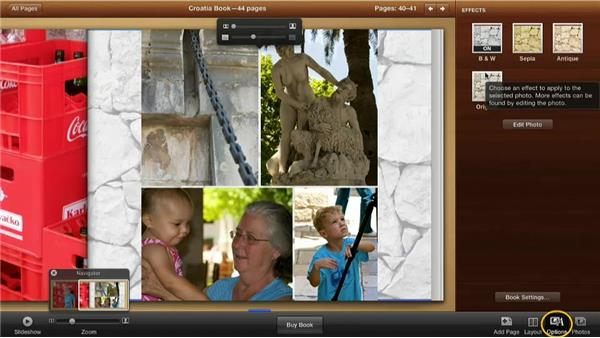 Applying design options effects to images: Creating Photo Books with iPhoto