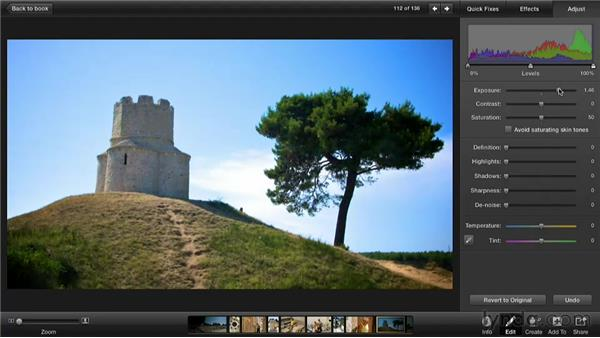 Editing a dark photo: Creating Photo Books with iPhoto