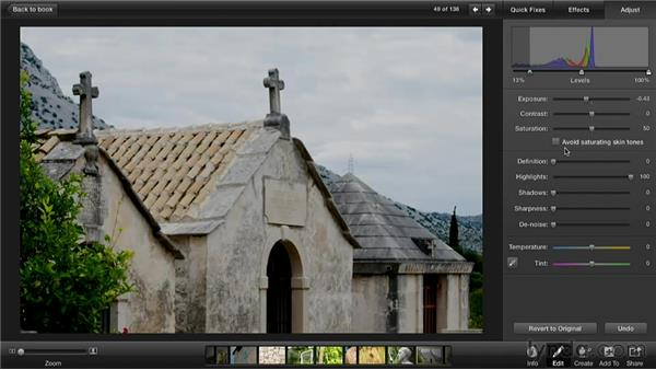 Editing a bright photo: Creating Photo Books with iPhoto