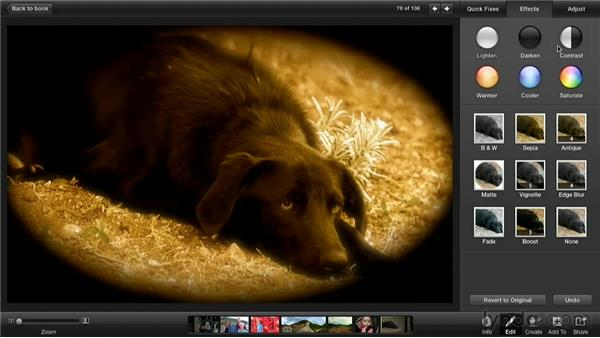 Reverting a photo: Creating Photo Books with iPhoto