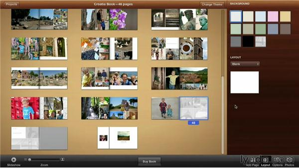 Adding a blank page: Creating Photo Books with iPhoto