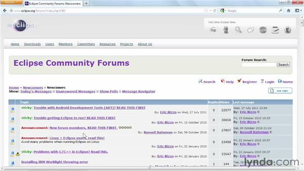 Using the community forums: Up and Running with Eclipse