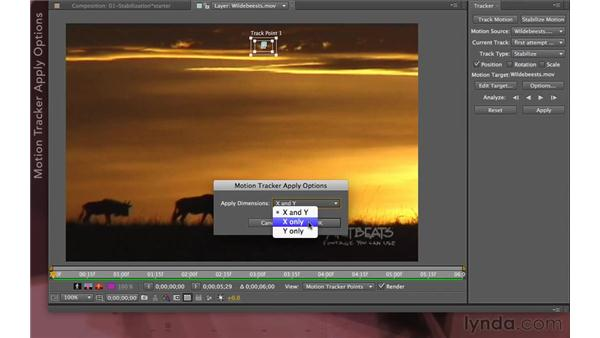 Applying a stabilization: After Effects Apprentice 12: Tracking and Keying